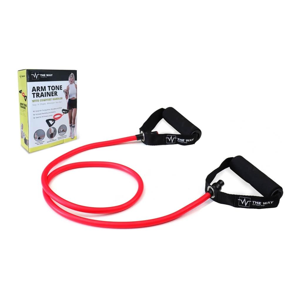 Extensor fitness cu manere, 1.2 m, tub elastic din latex, TheWay Fitness imagine