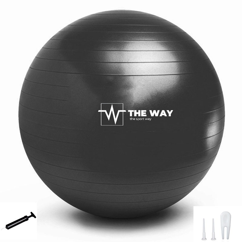 Minge fitness ANTI BURST, pompa inclusa, 55 cm, negru, TheWay Fitness imagine