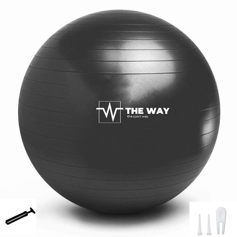 Minge fitness ANTI BURST, pompa inclusa, 55 cm, negru, TheWay Fitness imagine