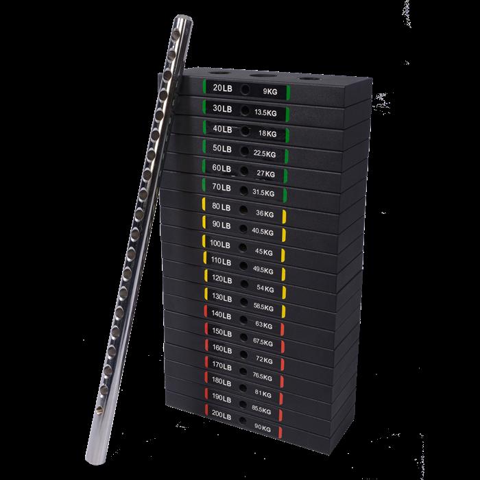 Set greutati tip stiva 90 kg pentru aparate Powertec imagine